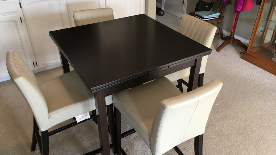 used beautiful wenge bar height dining room table with comfy leather rh us letgo com