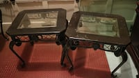 Black iron side table with glass Calgary