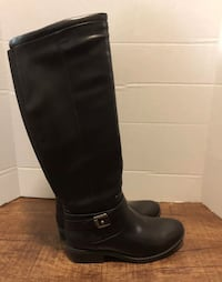 Women's baretraps black knee high tall riding buckle boots size 6 brand new Lincoln, 68516