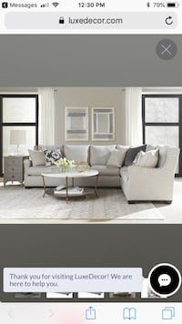 White and brown fabric sectional sofa Northbrook, 60062