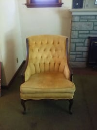 Gold cloth and wooden framed beige padded armchair Affton, 63123