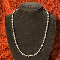 Genuine Black Pearl Necklace with 10k Yellow Gold Clasp Sterling, 20165