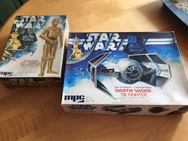 Authentic 1978 Darth Vader Tie Fighter and C-3PO model kits. Unopened