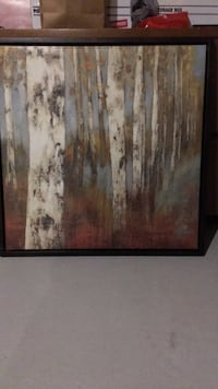 Brown wooden framed painting of trees Bradford West Gwillimbury, L3Z 0V6