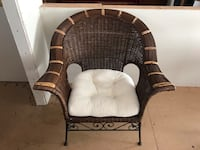 Wicker and Ornate Iron Chair with Seat Pad Bakersfield, 93308