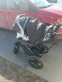 baby's black and gray tandem stroller 3145 km