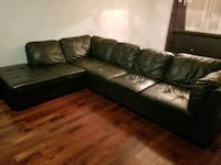brown leather sectional couch with throw pillows Toronto, M1C 2C1