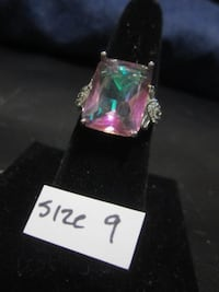 Size 9 (925 Silver Jewelry) Mystic Topaz Princess Cut Ring Rockford
