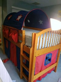 toddler's red and blue wooden bed frame Eagleswood, 08092