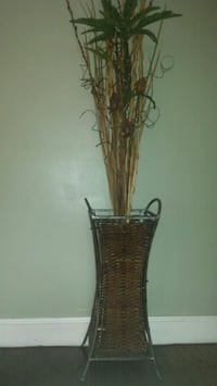 Extra Large Steel&Wicker Plant Holder