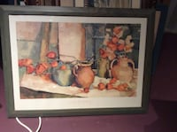 Vintage Chinese lantern framed picture .
