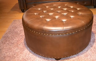 Brown Tufted Ottoan Leather Studded NEW
