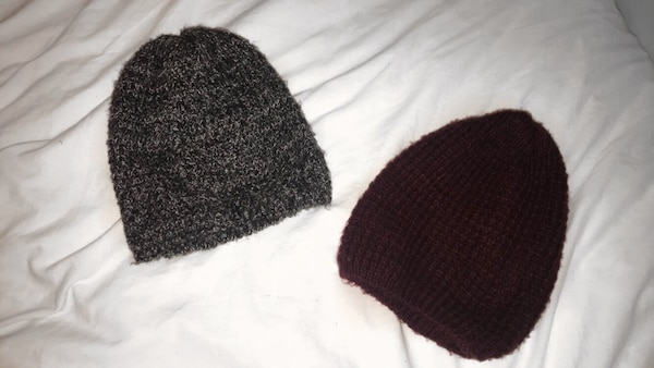 f75ac8351a9ee Used black   white + burgundy beanie   women s and men s clothing ...