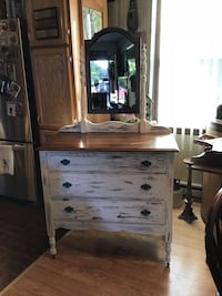 Old old chest of draws with mirror just refinished.  Have to see to appreciate!! NEW PRICE!  THIS Smithsburg, 21783