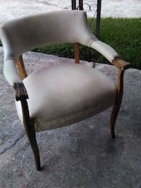brown wooden framed white padded armchair Baton Rouge, 70814