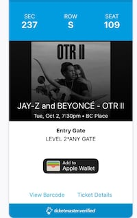 Beyoncé and JayZ OTR II Concert Tickets Oct 2nd New Westminster, V3M