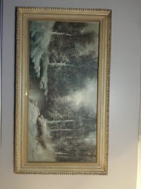 river between trees with snow framed painting Langton, N0E 1G0