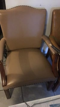 Brown wooden framed brown leather padded armchair Silver Spring, 20906