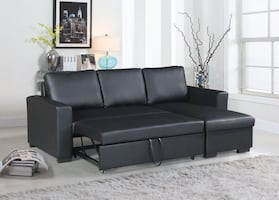 Black Faux Leather Sectional Sofa Bed Set