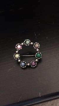 Green purple and pink gemstone round accessory. PRICE REDUCED!