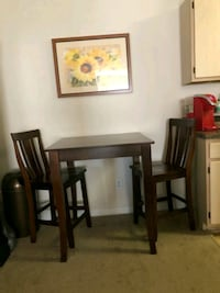 Pub table with two chairs cherry wood