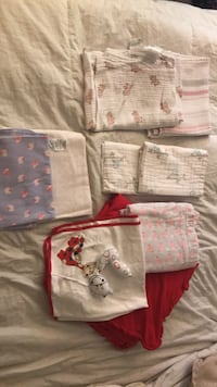 2 muslin blankets, 2 burp cloths, 2 receiving blankets and three baby blankets Herndon, 20170