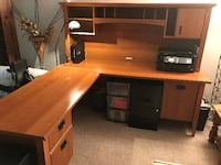L-shaped Wood Desk with Hutch Arlington