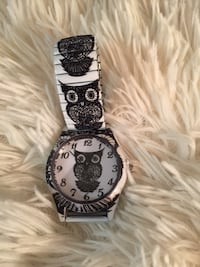 """REDUCED""? OWL WATCH (BLACK & WHITE) w/STRETCH OWL BAND? Brand New! Only $9? Mardela Springs, 21837"