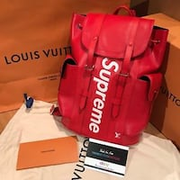 red Supreme leather bucket bag
