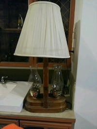 brown wooden base white shade, table lamp Harpers Ferry, 25425