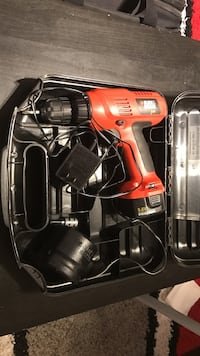 red and black Black & Decker cordless power drill with case New Carrollton, 20784