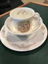 white and pink floral ceramic teacup with saucer Ellicott City, 21042