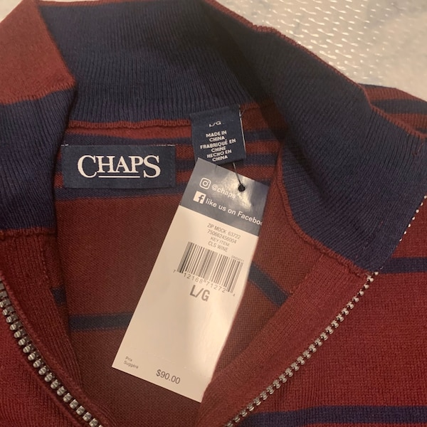 NWT Chaps Men's Striped Mockneck Sweater Large 2
