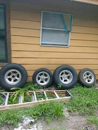 four gray 5-spoke car wheels with tires Houston, 77093