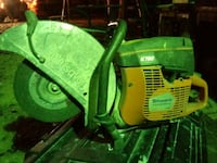 green and yellow John Deere ride-on mower 1366 mi