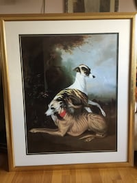 Wall Art Greyhound Dogs with Landscape Large Print with Frame