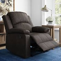 Lifestyle Solutions Reynolds Manual Recliner Faux Suede, Espresso (New in Box)