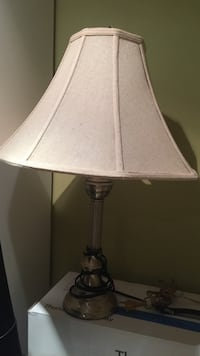 stainless steel lamp base with white cone shape lampshade St Catharines, L2M 1H5