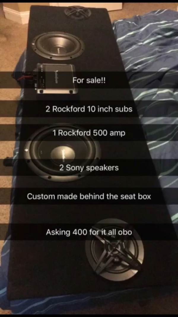 "2 Rockford 10"" subs/ 2 Sony speakers/ 500w Rockford amp/ custom made behind the seat box/ excellent condition they're just like brand new and have barely been used"