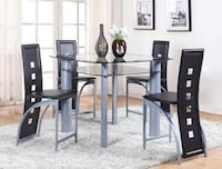 Echo Gray/Black 5-Piece Glass-Top Counter Height Dining Set | 1770 Houston, 77019