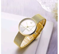 new unisex watch gold color stainless steel mesh strap  Manchester, 06040