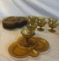 8 amber glass snack, cocktail, dessert trays,plates with glasses Columbia, 21044