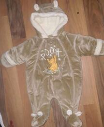 BABY GIRL POOH BEAR SNOWSUIT  0 TO 3 MONTHS