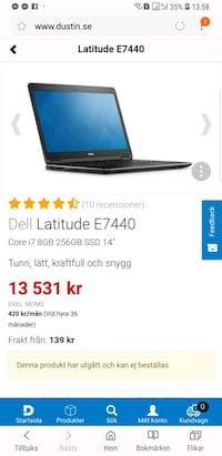 Dell latitude E7440 core i7 256 gb Göteborg, 418 32