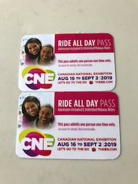 2 Adult CNE Ride All Day Passes Includes Admission They sell for $65.99 each Vaughan, L4H 1T7
