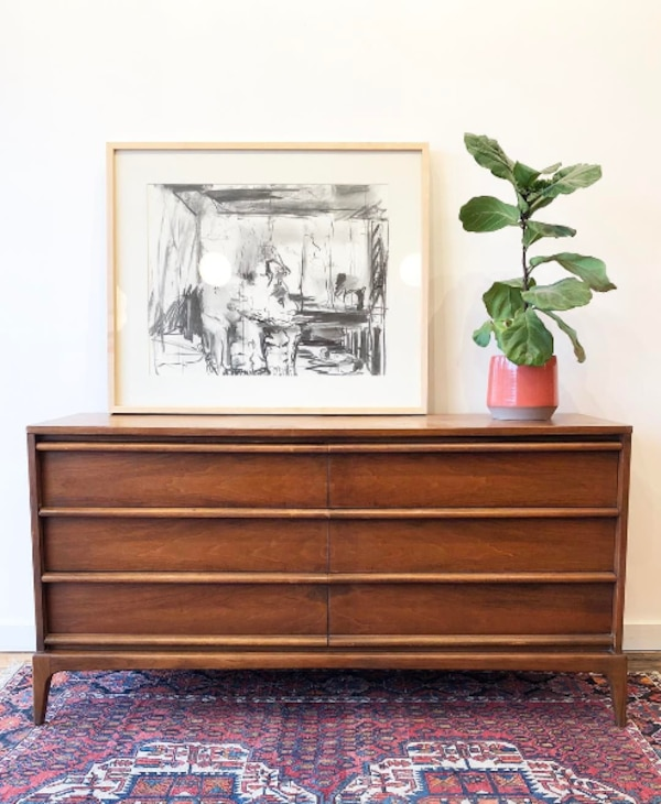 Mid Century Vintage Lane Rhythm Walnut Long Dresser