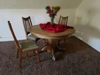 Old farm house table with 3 chairs. Spokane, 99201