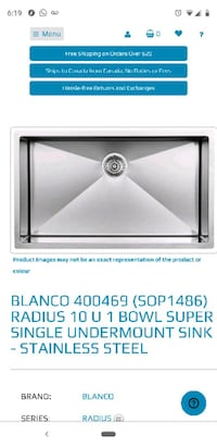Brand New In Box Blanco Sink Vaughan, L4L 7G1