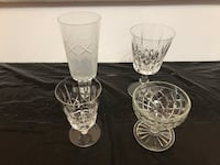 clear cut glass decanter and two drinking glasses Toronto, M3C 3P3