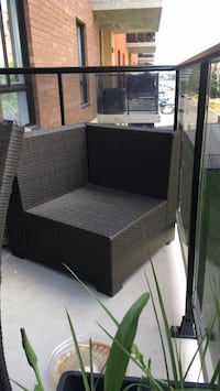 Outdoor chair with beige pillows matching chair wicker Laval, H7G